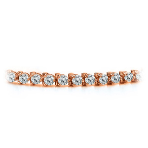 Certified 14k Rose Gold 3-Prong Round Diamond Tennis Bracelet 1.00 ct. tw. (H-I, SI)