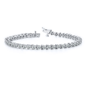 Certified 14k White Gold 3-Prong Round Diamond Tennis Bracelet 1.00 ct. tw. (I-J, I1)