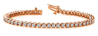 Certified 14k Rose Gold Prong Set Round Diamond Tennis Bracelet 1.00 ct. tw. (I-J, I1)