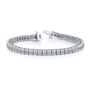 Certified 14k White Gold Half Bezel Round Diamond Tennis Bracelet 2.00 ct. tw. (H-I, SI)