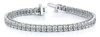 Certified 14k White Gold Half Bezel Round Diamond Tennis Bracelet 2.00 ct. tw. (I-J, I1)