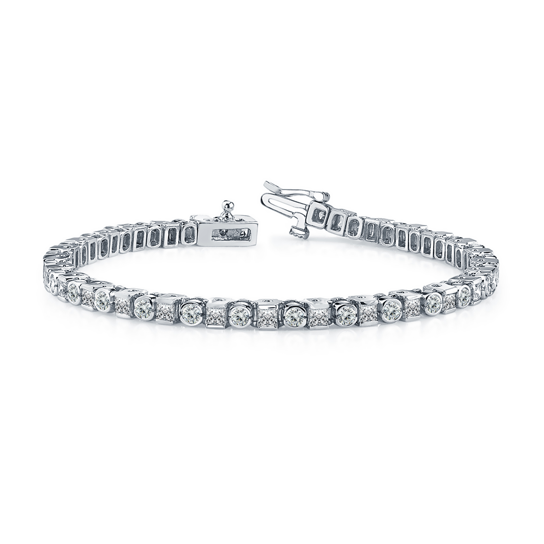 Certified 14k White Gold Round and Princess Diamond Tennis Bracelet 4.00 ct. tw. (I-J, I1)