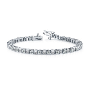 Certified 14k White Gold Round and Princess Diamond Tennis Bracelet 4.00 ct. tw. (I-J, I1)