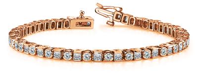 Certified 14k Rose Gold Round and Princess Diamond Tennis Bracelet 4.00 ct. tw. (I-J, I1)