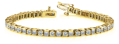 Certified 14k Yellow Gold Round and Princess Diamond Tennis Bracelet 4.00 ct. tw. (I-J, I1)
