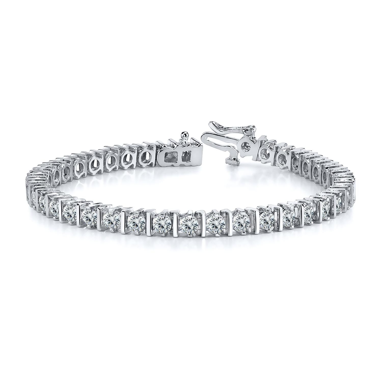 Certified 14k White Gold Prong Round Diamond Tennis Link Bracelet 2.00 ct. tw. (I-J, I1)