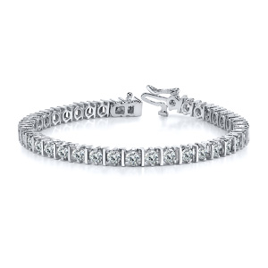 Certified 14k White Gold Prong Round Diamond Tennis Link Bracelet 2.00 ct. tw. (I-J, I1)