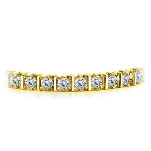 Certified 14k Yellow Gold Prong Round Diamond Tennis Link Bracelet 2.00 ct. tw. (I-J, I1)