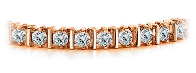 Certified 14k Rose Gold Prong Round Diamond Tennis Link Bracelet 2.00 ct. tw. (I-J, I1)