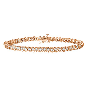 Certified 14k Rose Gold Round Diamond S-Link Tennis Bracelet 1.00 ct. tw. (I-J, I1)