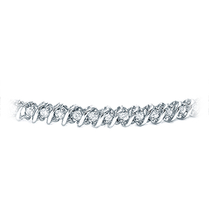 Certified 14k White Gold Round Diamond S-Link Tennis Bracelet 1.00 ct. tw. (I-J, I1)