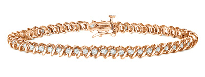 Certified 14k Rose Gold Round Diamond S-Link Tennis Bracelet 1.00 ct. tw. (I-J, I1)