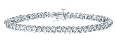Certified 14k White Gold Round Diamond S-Link Tennis Bracelet 1.00 ct. tw. (I-J, I1)