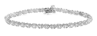 Certified 14k White Gold Round-cut Diamond Tennis Link Bracelet 1.25 ct. tw. (I-J, I1)