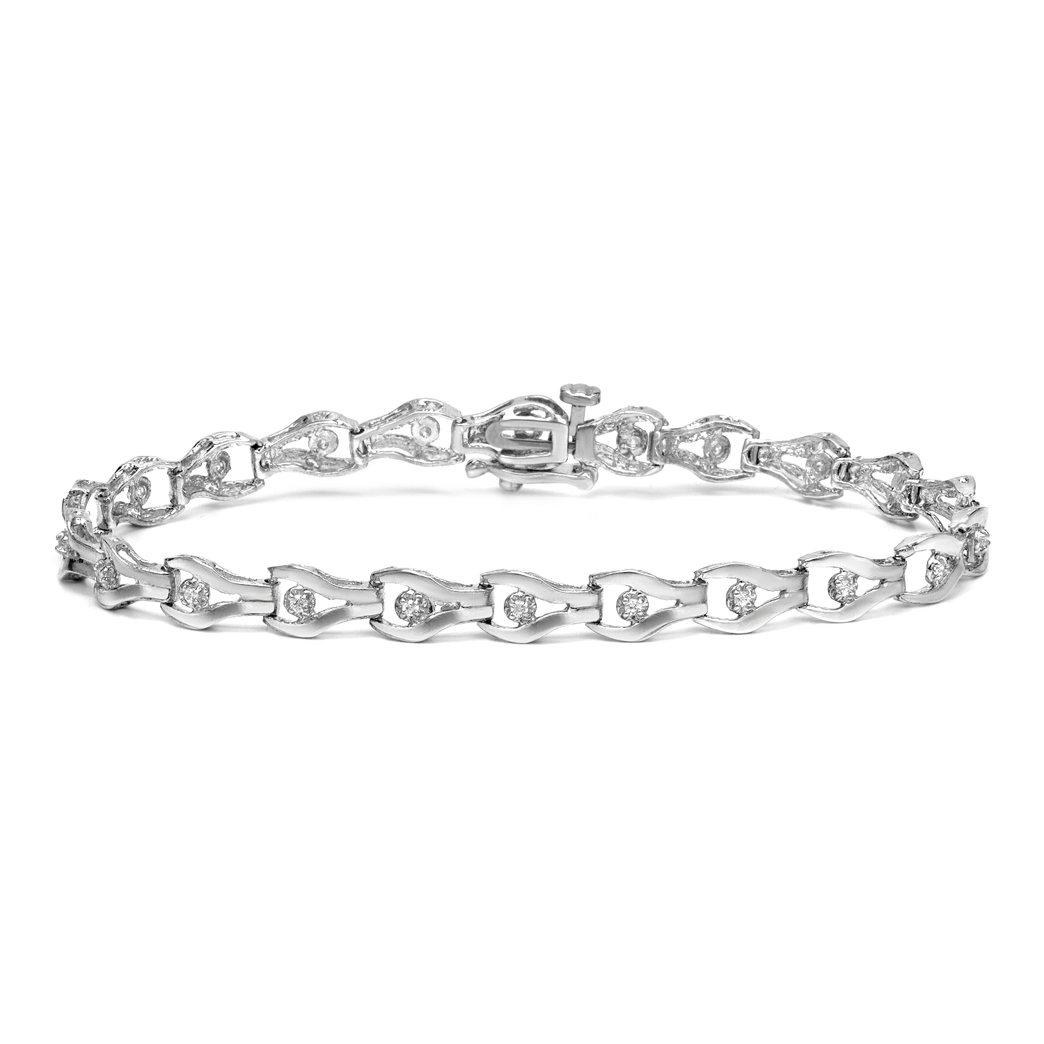 Certified 14k White Gold Round-cut Diamond Tennis Link Bracelet 0.25 ct. tw. (I-J, I1)