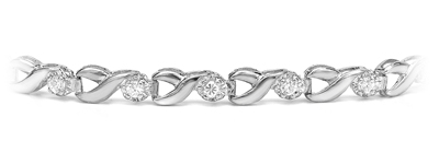 Certified 14k White Gold Round-cut Diamond Tennis Link Bracelet 0.50 ct. tw. (I-J, I1)