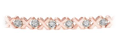 Certified 14k Rose Gold Round-cut Diamond Tennis Link Bracelet 0.20 ct. tw. (I-J, I1)