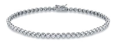 Certified 14k White Gold Round-cut Diamond Tennis Link Bracelet 2.00 ct. tw. (I-J, I1)