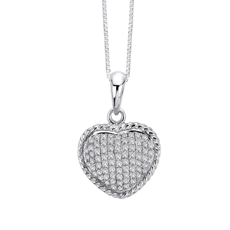 Certified 14K White Gold  Heart Pendant Neckalce 0.30 ct.tw. (H-I,I2-I3)