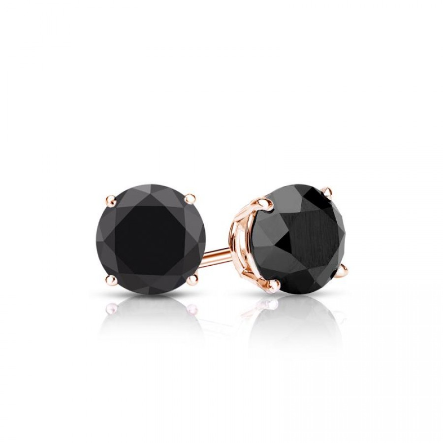 Certified 14k Rose Gold 4-Prong Basket Round Black Diamond Stud Earrings 1.25 ct. tw. (AAA Quality)