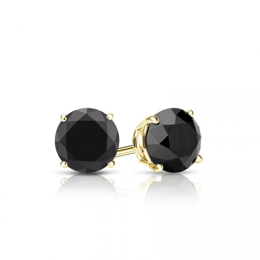 Certified 14k Yellow Gold 4-Prong Basket Round Black Diamond Stud Earrings 1.25 ct. tw. (AAA Quality)