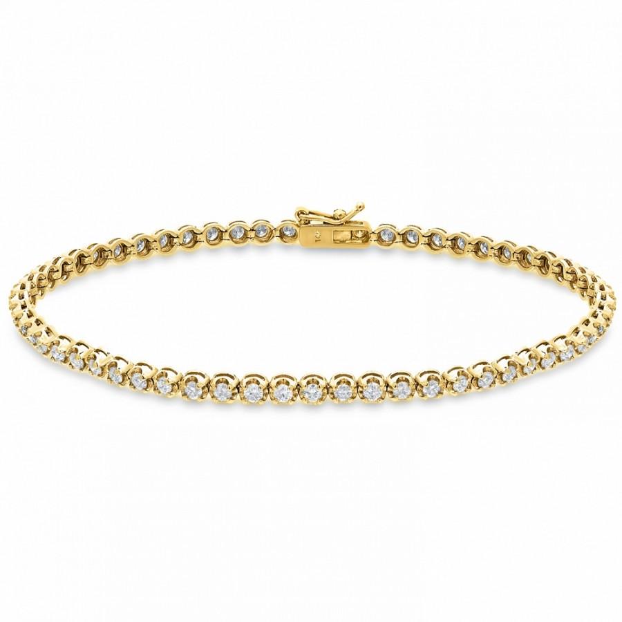 Certified 14k Yellow Gold 4-Prong Round Diamond Tennis Link Bracelet 2.00 ct. tw. (H-I, I1-I2)