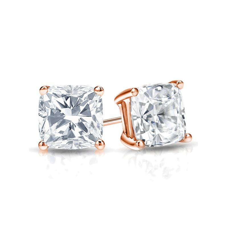 Certified 14k Rose Gold 4-Prong Basket Cushion Cut Diamond Stud Earrings 0.75 ct. tw. (E-F, VS1-VS2)