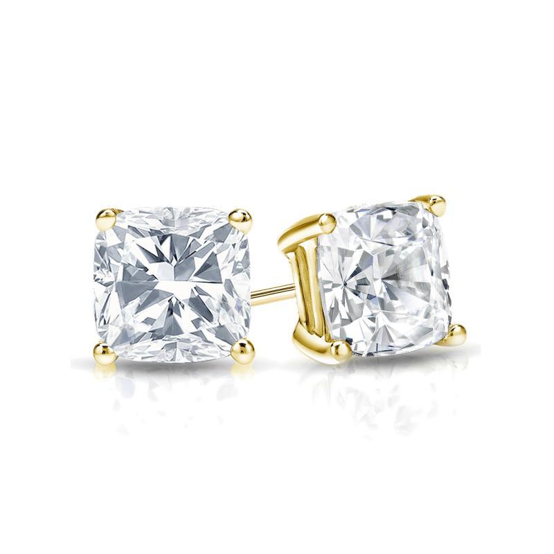 Certified 14k Yellow Gold 4-Prong Basket Cushion Cut Diamond Stud Earrings 0.75 ct. tw. (E-F, VS1-VS2)