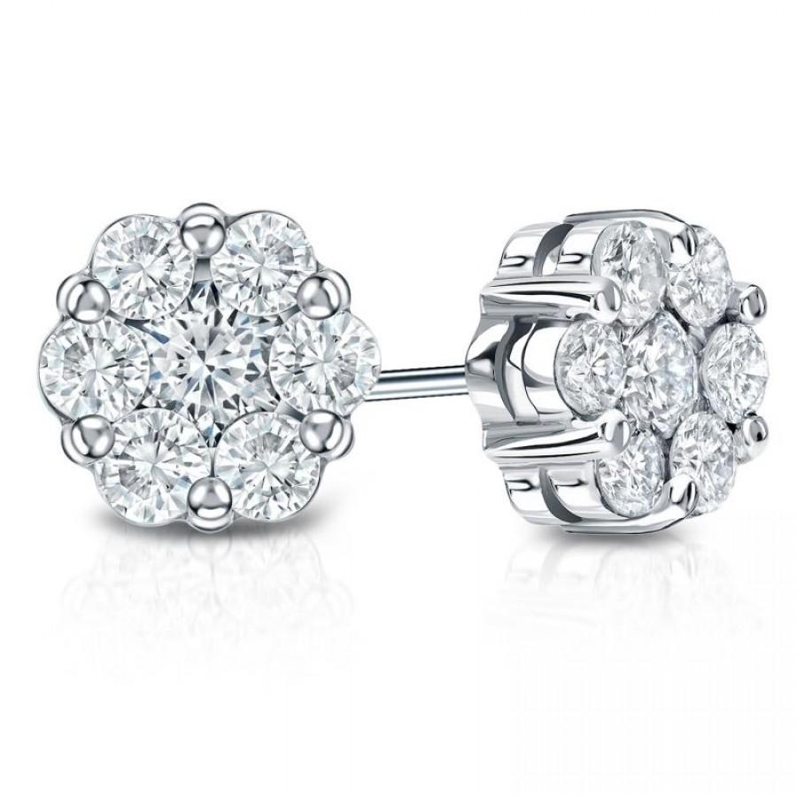 14k White Gold Prong-Set Cluster Round Diamond Earring 0.25 ct. tw. (H-I, I1-I2)