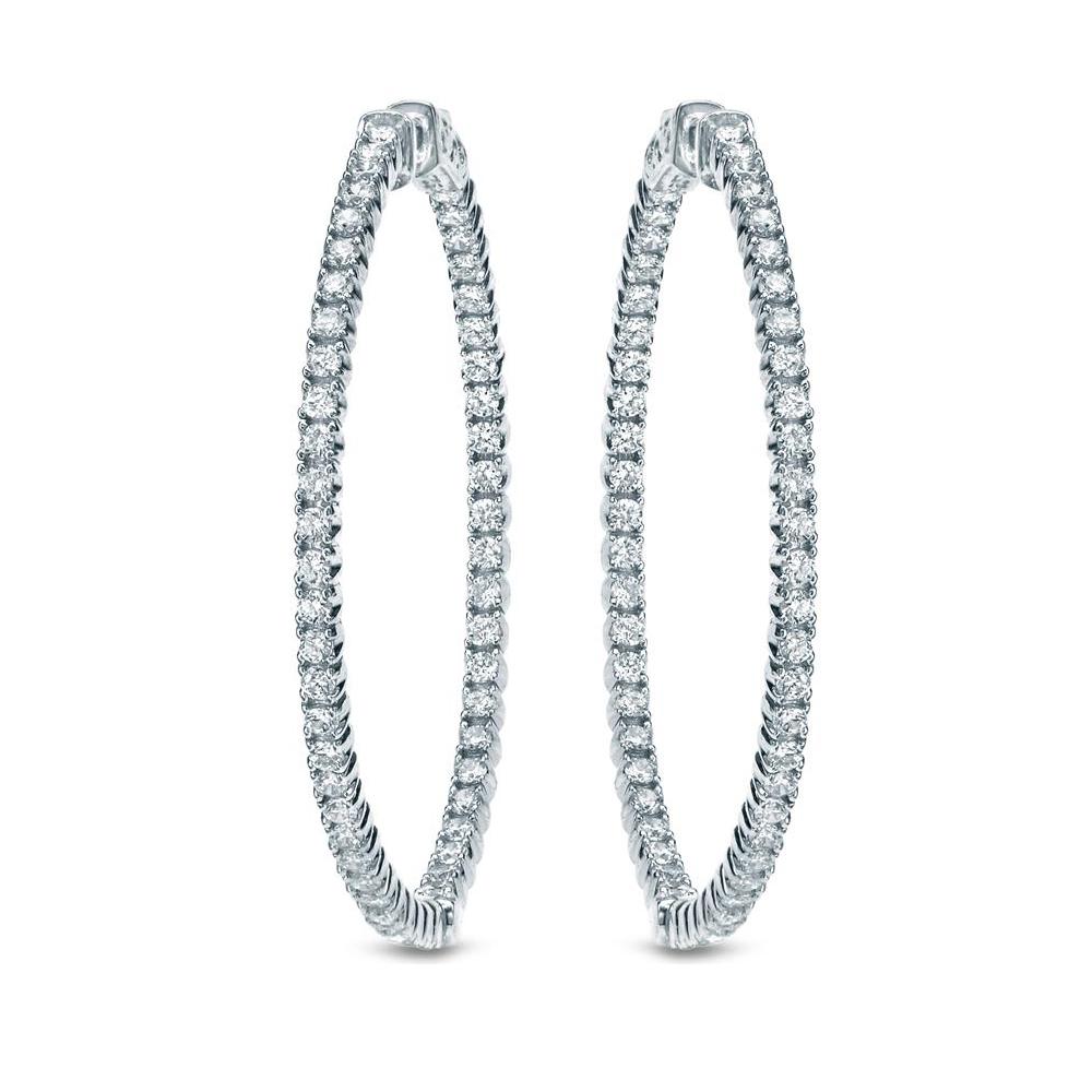 Certified 14K White Gold Round Diamond Hoop Earrings 1.00 ct. tw. (F-G, I1-I2)