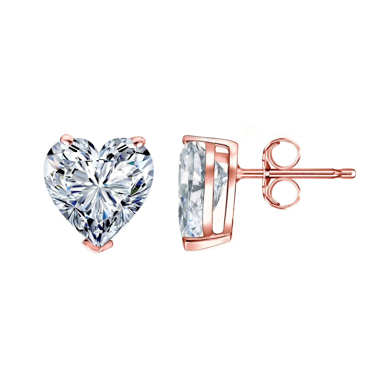 Certified 14k Rose Gold Heart Diamond Stud Earrings 1.25 ct. tw. (G-H, SI1-SI2)