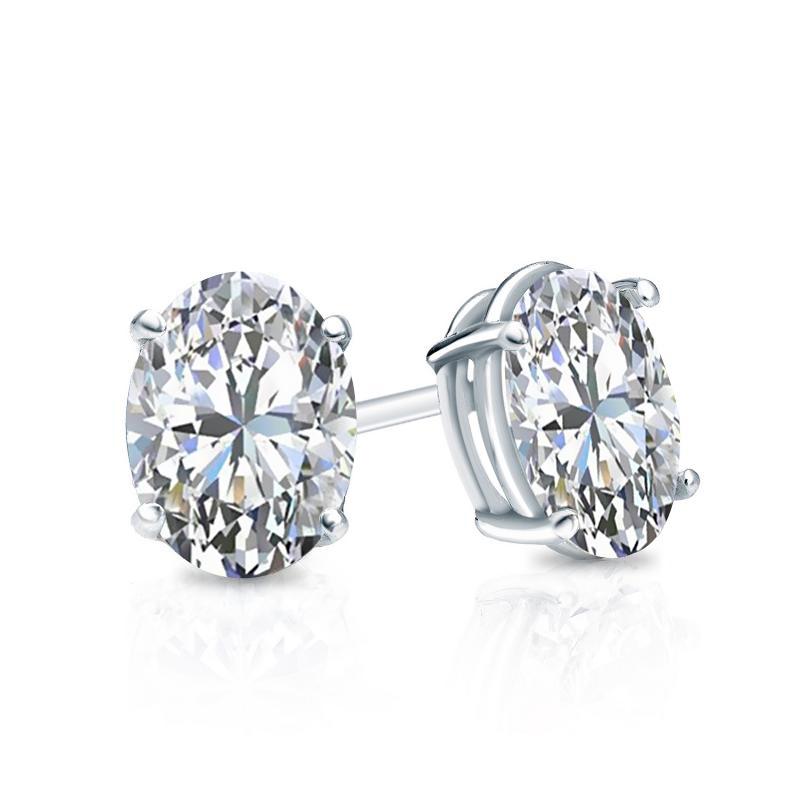 Certified 18k White Gold 4-Prong Basket Oval Diamond Stud Earrings 0.75 ct. tw. (E-F, VS1-VS2)