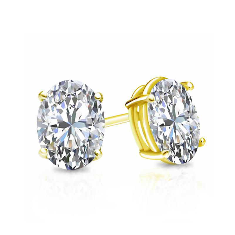 Certified 14k Yellow Gold 4-Prong Basket Oval Diamond Stud Earrings 0.75 ct. tw. (E-F, VS1-VS2)
