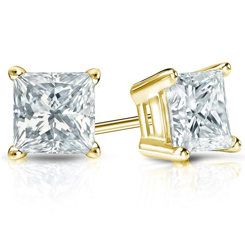 Certified 14k Yellow Gold 4-Prong Basket Princess-Cut Diamond Stud Earrings 2.00 ct. tw. (H-I, I2-I3)