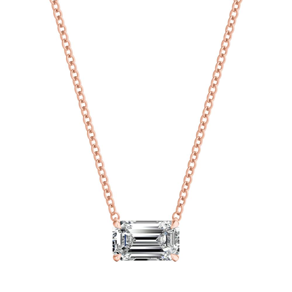 14K Yellow Gold Solitaire Pendant Princess Cut w// 1.50CT Created Diamond