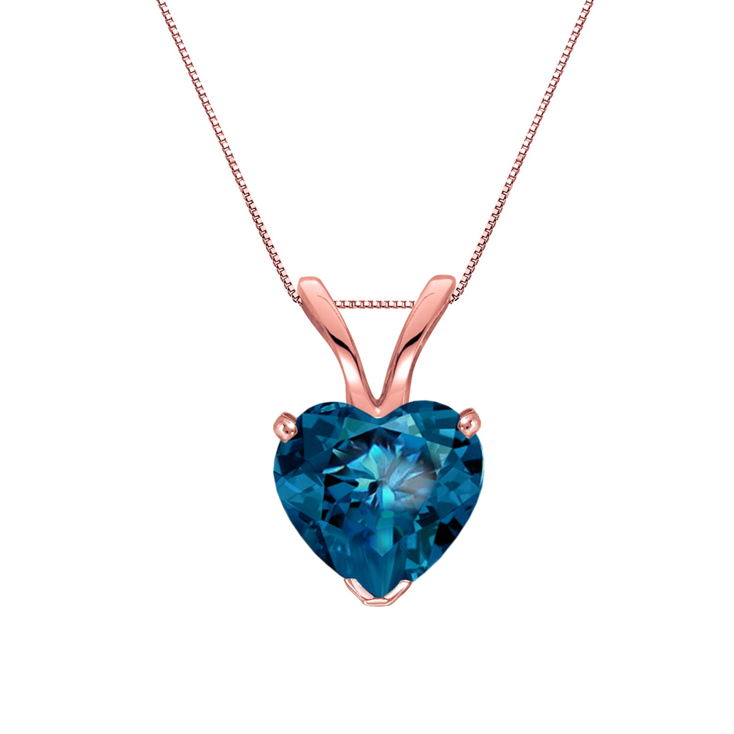 Certified 14k Rose Gold Heart Shape Blue Diamond Solitaire Pendant 1.00 ct. tw. (Blue, SI1-SI2)
