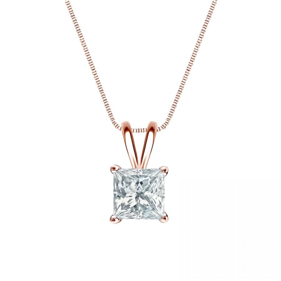 14k Rose Gold 4-Prong Basket Certified Princess-Cut Diamond Solitaire Pendant 1.00 ct. tw. (H-I, I2-I3)