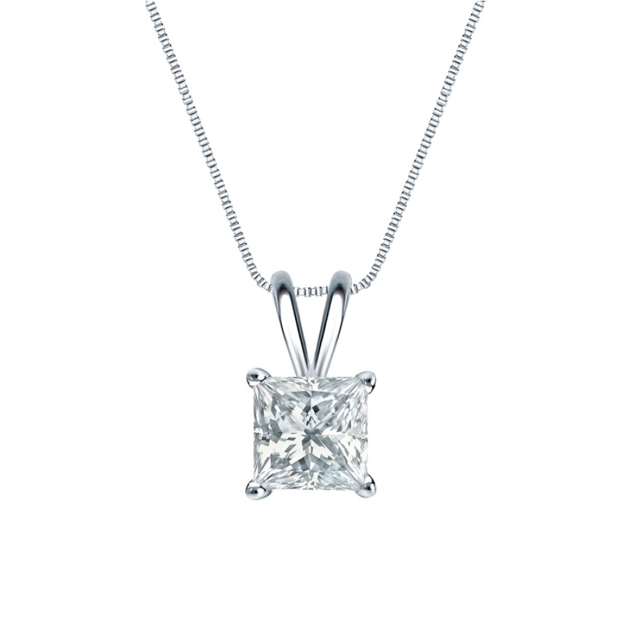 14k White Gold 4-Prong Basket Certified Princess-Cut Diamond Solitaire Pendant 1.00 ct. tw. (H-I, I2-I3)