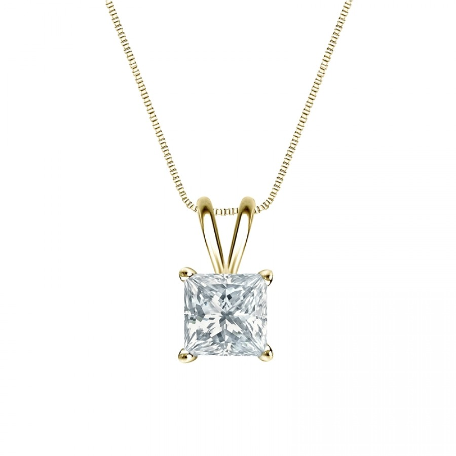 14k Yellow Gold 4-Prong Basket Certified Princess-Cut Diamond Solitaire Pendant 1.00 ct. tw. (H-I, I2-I3)