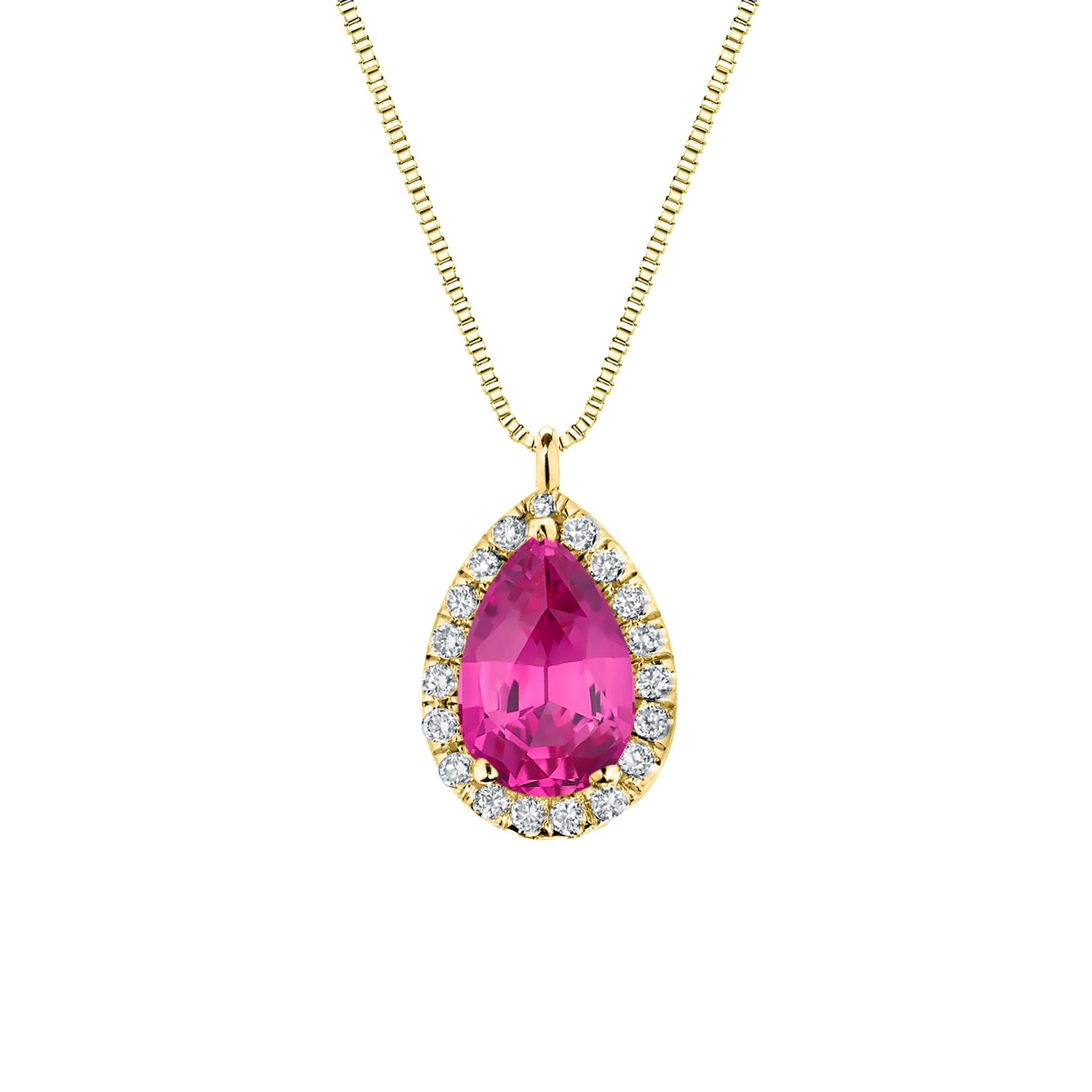 Certified 14k Yellow Gold Pear Shape Pink Sapphire Halo Pendant 1.50 ct. tw. (Pink, AAA)