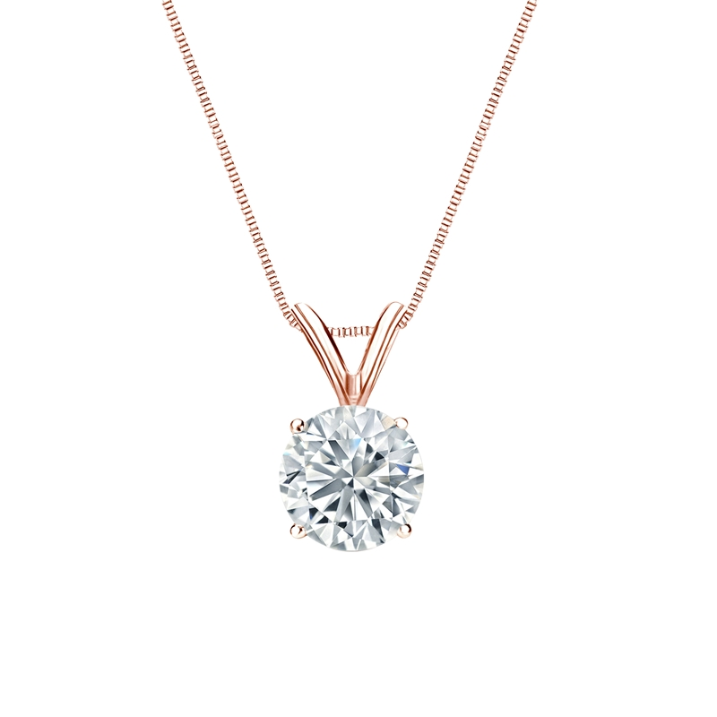 Certified Round-Cut Lab Grown Diamond Solitaire Pendant in 14k Rose Gold 4-Prong Basket 0.75 ct. tw. (I-J, SI1-SI2)