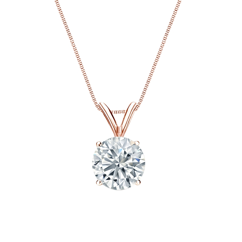 Certified 14k Rose Gold 4-Prong Basket Round-Cut Diamond Solitaire Pendant 1.00 ct. tw. (H-I, I2-I3)