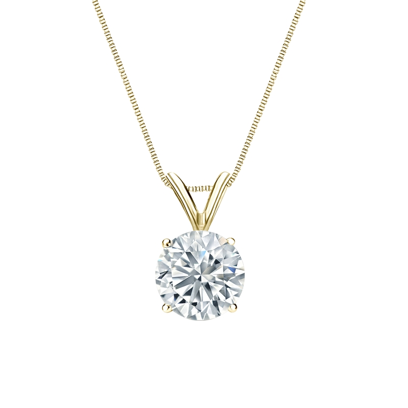 Certified 14k Yellow Gold 4-Prong Basket Round-Cut Diamond Solitaire Pendant 1.00 ct. tw. (H-I, I2-I3)