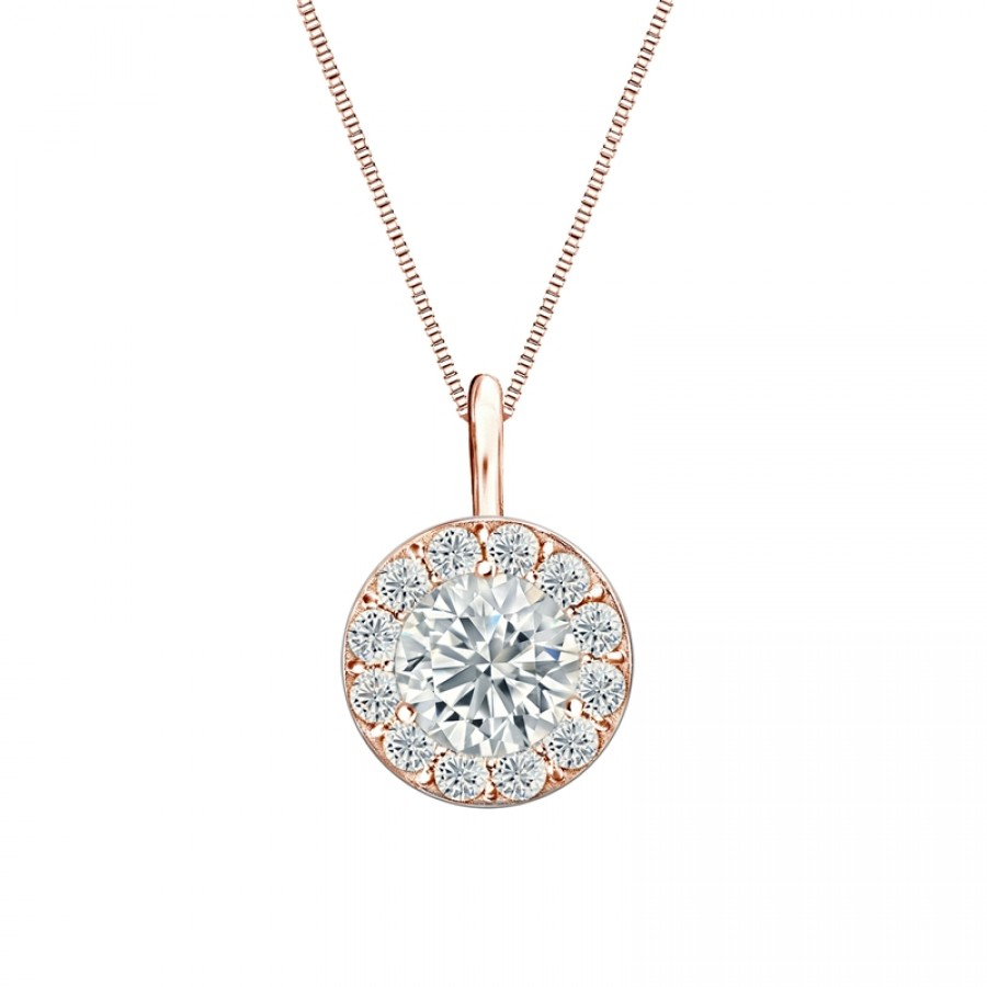 14k Rose Gold Certified Round-Cut Diamond Halo Pendant 1.00 ct. tw. (H-I, SI2-SI3)