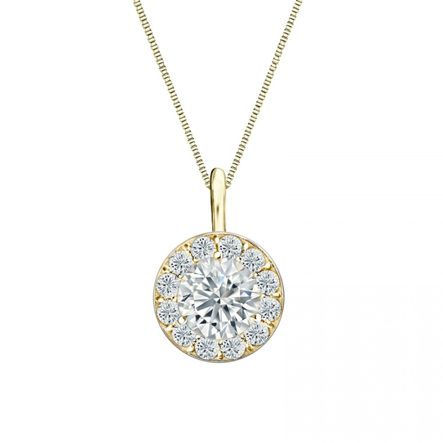 14k Yellow Gold Certified Round-Cut Diamond Halo Pendant 1.00 ct. tw. (H-I, SI2-SI3)