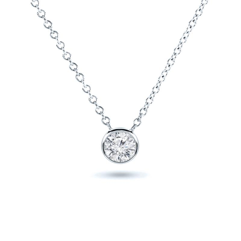 Certified 14k White Gold Bezel Round-Cut Diamond Solitaire Pendant 0.20 ct. tw. (H-I, I1-I2)