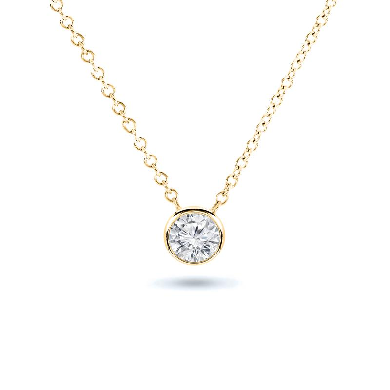 Certified 14k Yellow Gold Bezel Round-Cut Diamond Solitaire Pendant 0.20 ct. tw. (H-I, I1-I2)