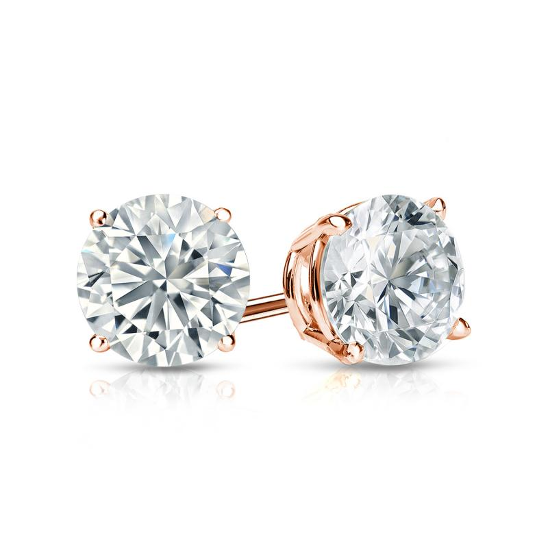 Certified 14k Rose Gold 4-Prong Basket Round Diamond Stud Earrings 1.00 ct. tw. (H-I, I2-I3)