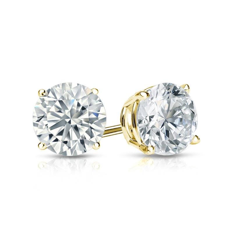 Certified 14k Yellow Gold 4-Prong Basket Round Diamond Stud Earrings 1.00 ct. tw. (H-I, I2-I3)