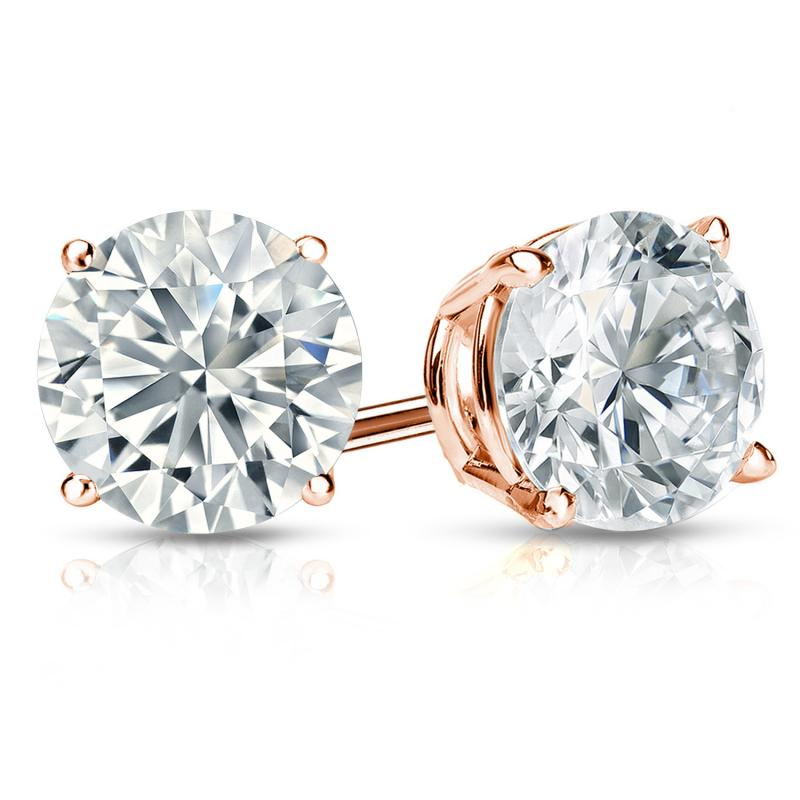 Certified 14k Rose Gold 4-Prong Basket Round Diamond Stud Earrings 2.00 ct. tw. (H-I, I2-I3)